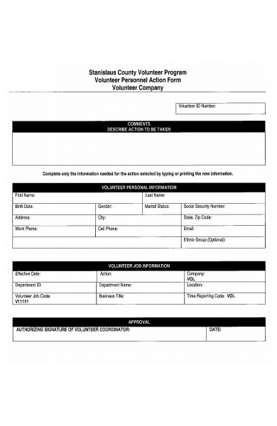 volunteer personnel action form