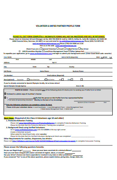 volunteer profile form