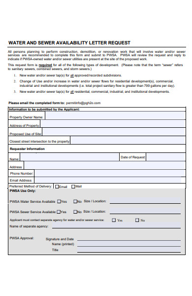 water availibility letter request form