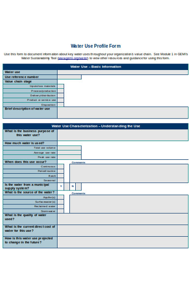 water use profile form