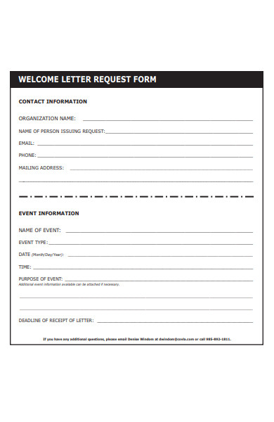 welcome letter request form