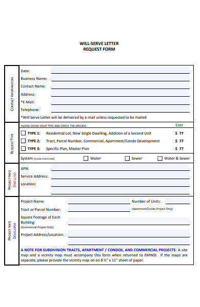 will serve letter request form