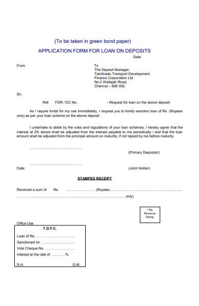 application form for loan on deposit