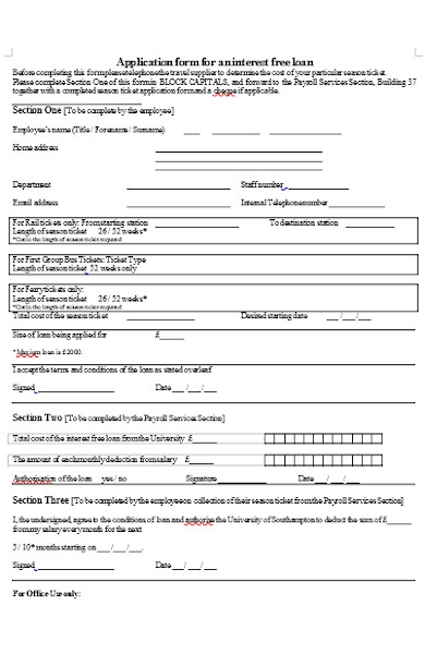 application form for an interest free loan