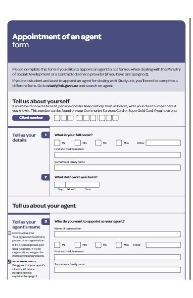 appointment of agent work form