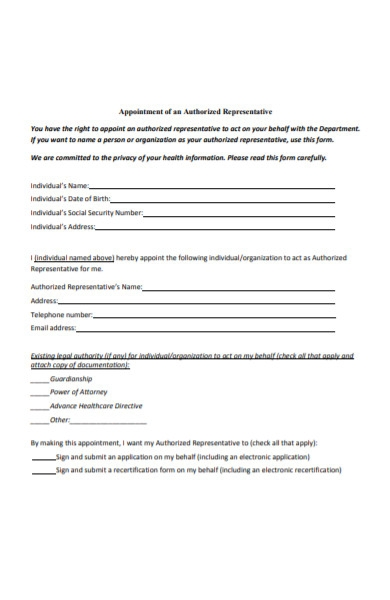 appointment of an authorized representative form