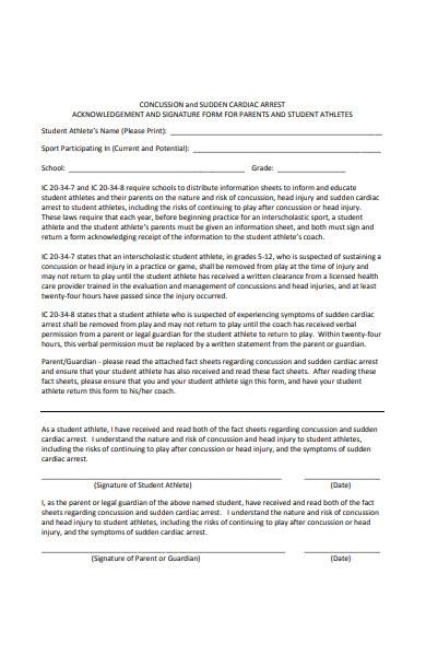 athlete acknowledgement form