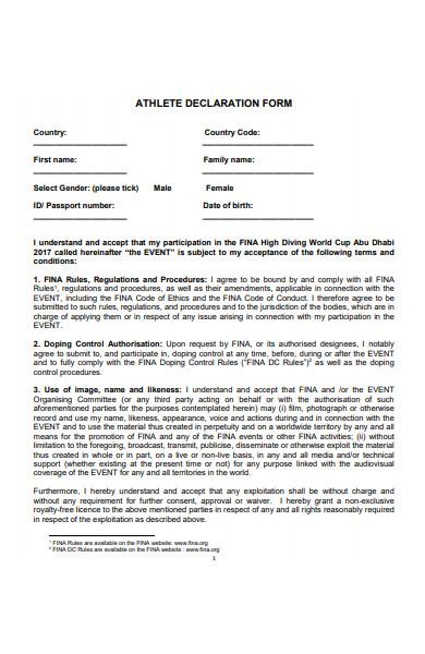 athlete declaration form