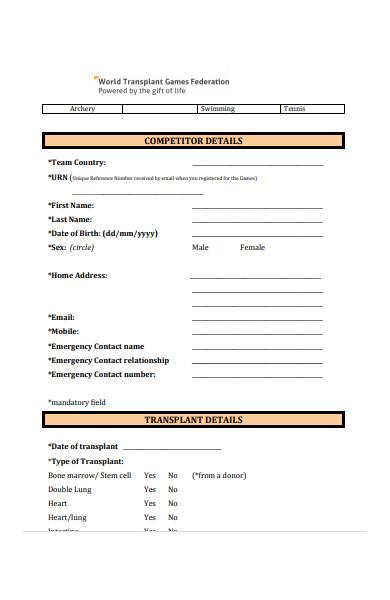athlete details form