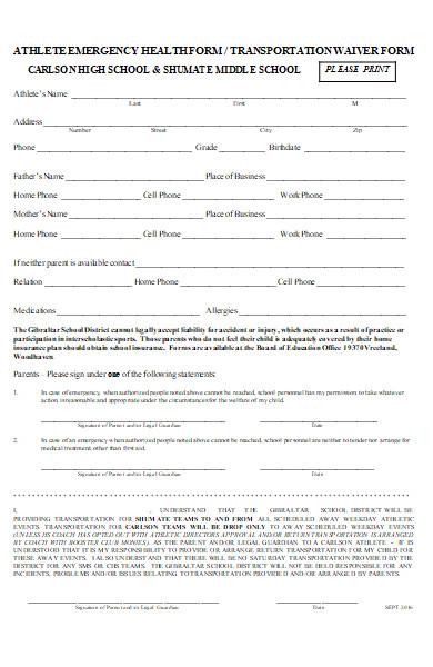 athlete emergency health form