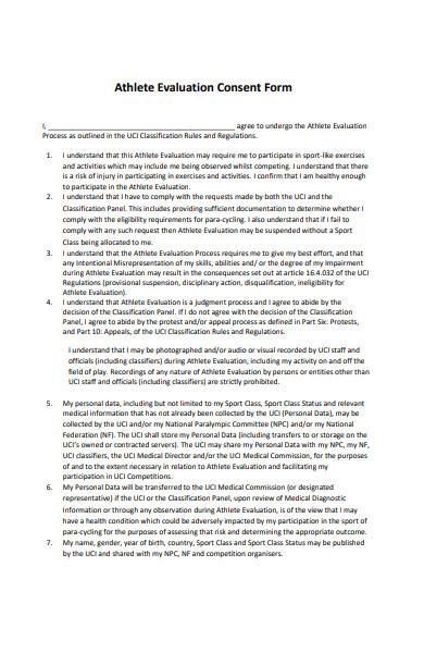 athlete evaluation consent form