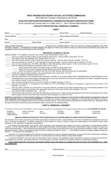 athlete partcipation form