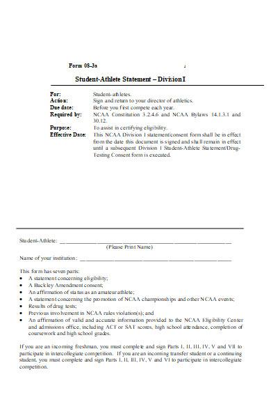 athlete statement form