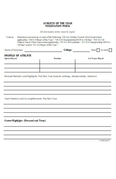 athlete of the year nomination form