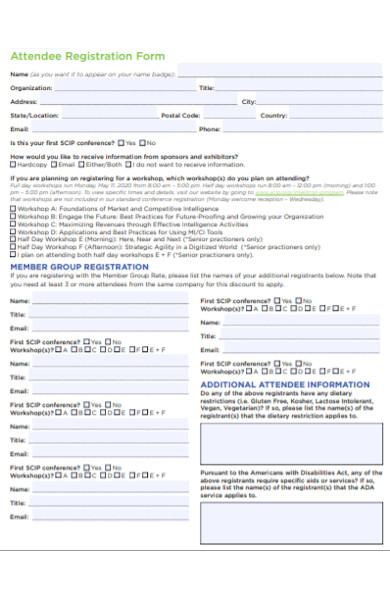 attendee registration form