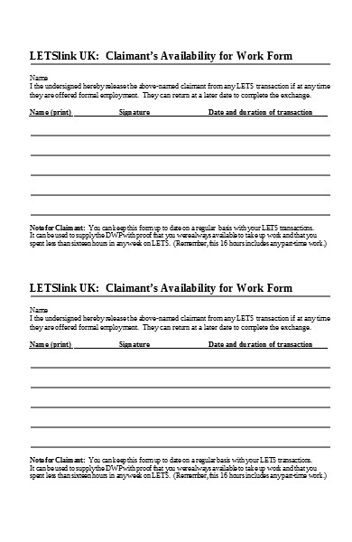 availability for work form