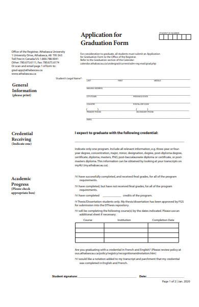 baisc graduate form
