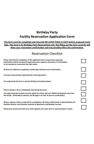 basic birthday party form