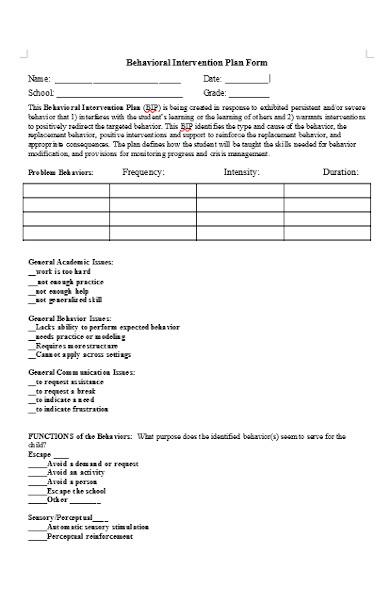 behavioral intervention plan form