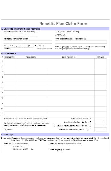 benefits plan claim form