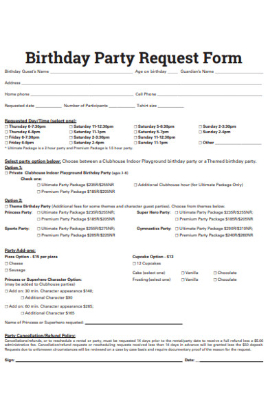 birthday party request form