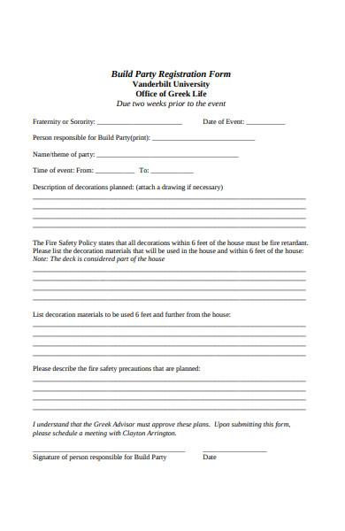 build party registration form