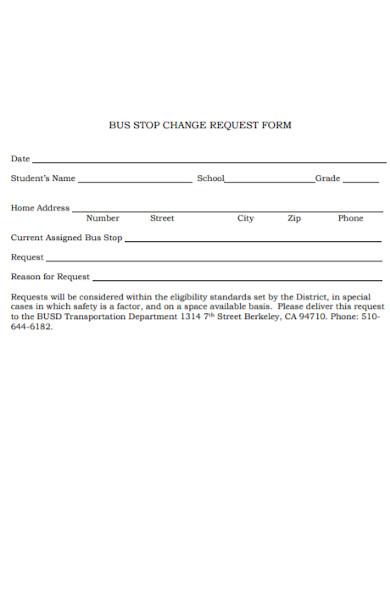 bus stop change request plan form