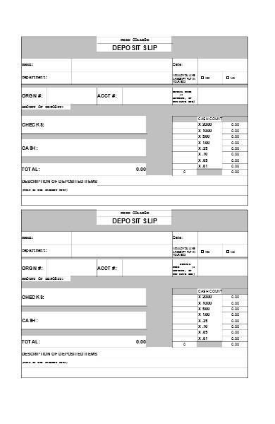 cashier deposit form