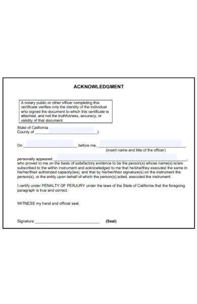 certificate of acknowledgment