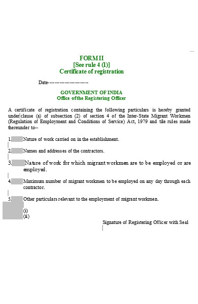certificate of registering form