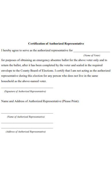 certification authorized representative form