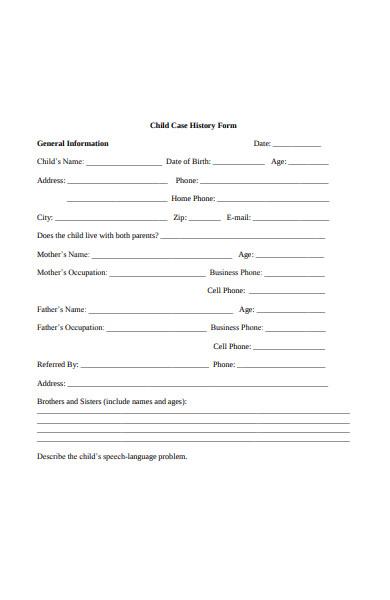 child case history form