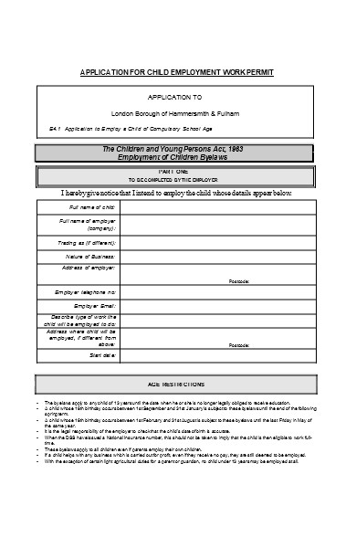 child employment work permit form