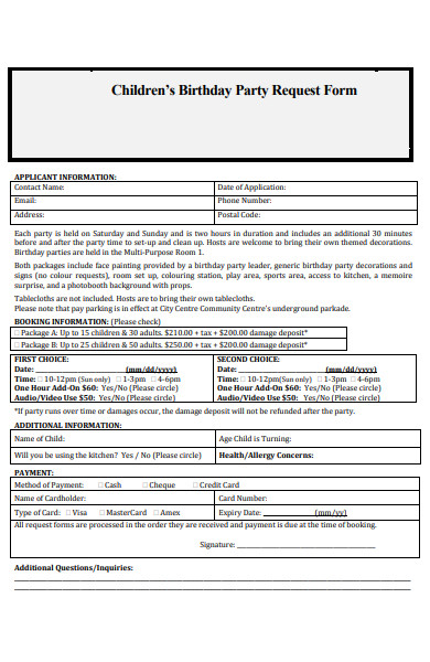 childrens birthday party request form