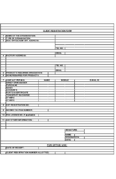 client registration forms