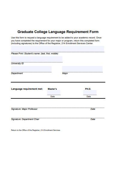 college language requirement form