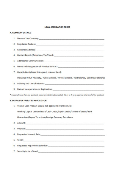 company loan application form