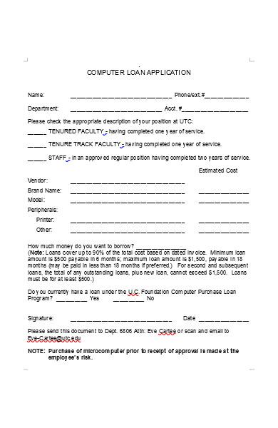 computer loan application form