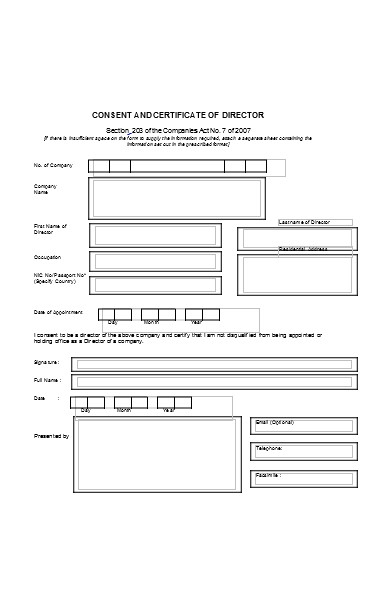 consent director certificate form