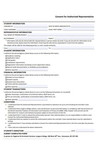 consent for authorized representative form