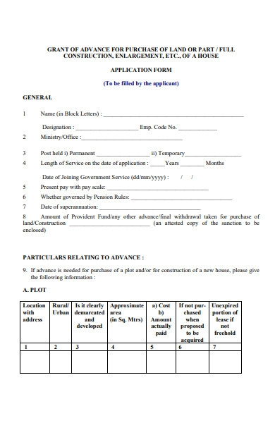 construction application form for house purchase