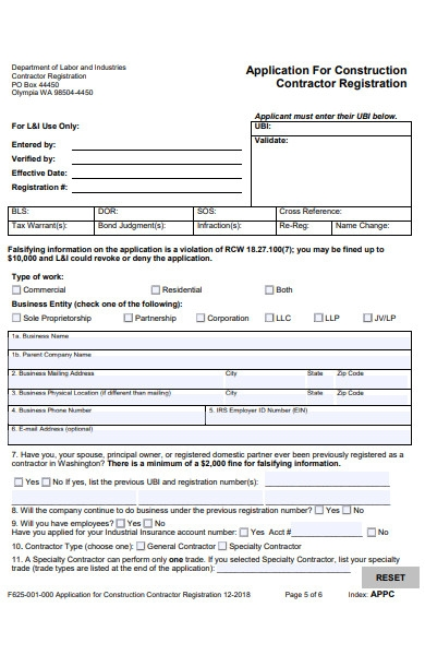 construction contractor registration form template