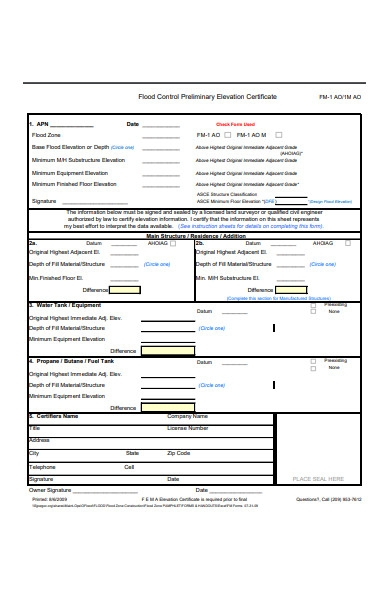 construction elevation certificate form