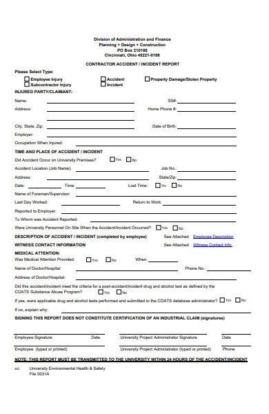 contractor accident report form