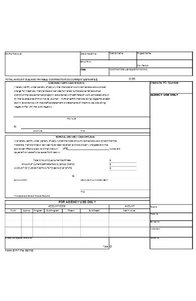 contractor certificate form