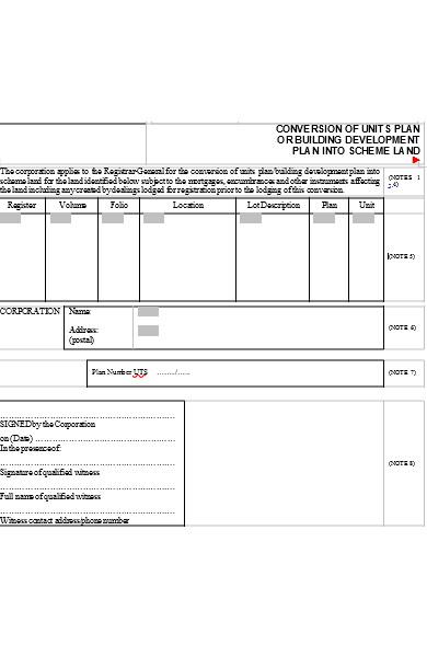 conversion of units plan form