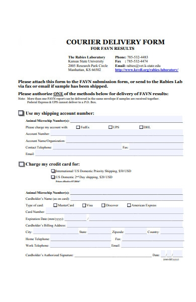 courier delivery form