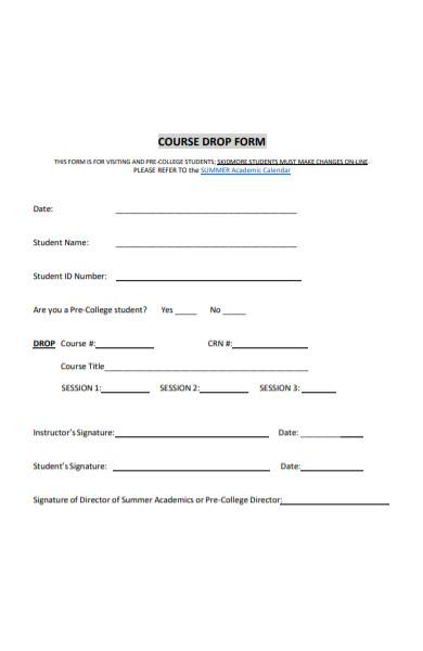 course drop form