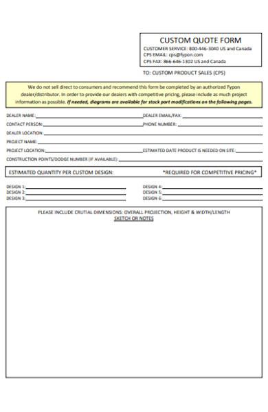 custom quote form