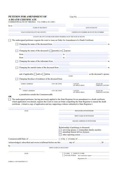 death amendment form